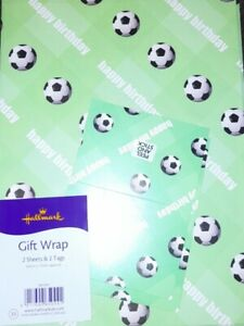 Football wrapping paper Hallmark - 2 Sheets & 2 Tags birthday gift bnwt ⚽️ paper