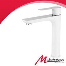 Hoch Waschtischarmatur Weiß Bad Armatur einhebelmischer Wasserhahn Weiss Chrom