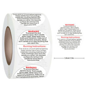 500pcs/roll Candle Warning Label Candle Jar Container Stickers Waterproof LaBDA