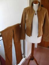 Ladies NEXT real LEATHER tan brown JACKET COAT size UK 10 harrington biker