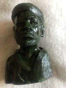 Hand Carved Green Verdite Stone African Head Bust, Vintage