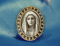 Our Lady of Fatima Virgin Mary Brooch Catholic Broach Antique Gold Religious Pin
