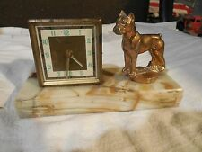 Boxer dog trophy with German Florn travel clock on an onyx base