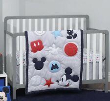 Disney Amazing Mickey Mouse 3 Piece Nursery Crib Bedding Set, Grey/Navy/Red/Blue