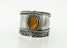 925 sterling silver band ring orange stone size 7