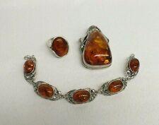 Vintage 925 Sterling Silver Faux Amber Ring Bracelet & Huge Pendant Brooch Set