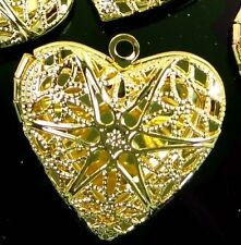5 Gold Plated Filigree Hollow Locket Heart Pendants 26mm