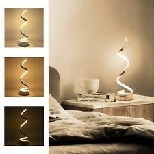 Modern LED Bedside Spiral Table Lamps Creative Design Curved Warm White Light UK