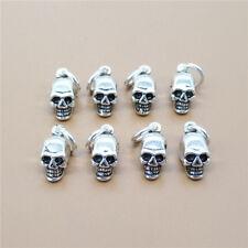 4 Sterling Silver Skeleton Skull Charms for Bracelet Necklace