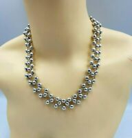 Lovely Heavy Solid  Silver Interlinked & Beaded Necklace. Fully Hallmarked 85g