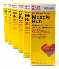 CVS Vanishing Scent Muscle Rub Pain Relieving Gel 2 Oz Compare to Bengay (6PK)