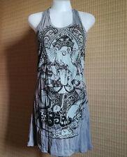 New BABU Yoga Mini Dress Sleeveless GANESH GOD OM OMH AUM Hippie Free size