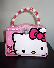 SANRIO HELLO KITTY TIN LUNCHBOX TRINKET BOX HINGED WITH CLASP BEADED HANDLE NEW