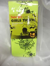 NEON YELLOW TIGHTS WITH BLACK SPIDERS AND WEBS HALLOWEEN FANCY DRESS 11-14
