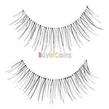 10 Pairs Synthetic Lady False Eyelash Natural Look Makeup Transparent Stem Black