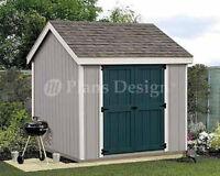 Shed Plans for 8 x 8 Garden Storage Utility Building Design #10808