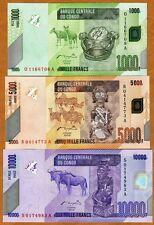 Set, Congo D. R., 1000;5000;10000 Francs, 2005-2006 (2012), P-New, UNC