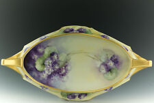 """LIMOGES WIHITE'S ART COMPANY 15"""" HAND PAINTED VIOLETS TRAY"""