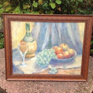 A Vintage Retro Original pastel / Oil painting still life of fruit study signed