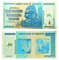 "★ ZIMBABWE : BILLET POLYMER  "" ARGENT "" DU 100 QUINTILLION DOLLARS  ★"