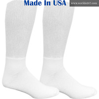 Best Quality Men's 12 Pair White Diabetic Crew Socks size 10-13 (MADE IN USA)