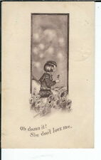 AX-202 - She Don't Love Me, Artist Signed Cobb Shinn, 1907-1915 Postcard Div bck