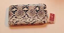 Bobbie Brooks Black and White Reptile Snake Print Flat Wallet/ Purse/ Clutch New