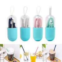 Collapsible Reusable Silicone Straw Folding Straws With Case + Cleaning Brush
