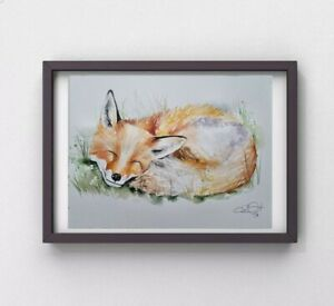 New large Elle Smith signed original certificated watercolour art painting Fox
