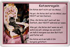 Katzenregeln - Sie darf alles Witziges Funny Blechschild 20x30 Metallschild 1256