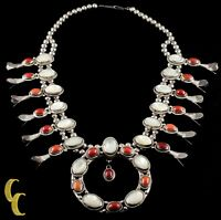 Navajo Mother of Pearl & Coral Sterling Silver Squash Blossom Necklace