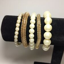 Stretch Goldtone, Pearlised Beads Bracelets Bundle 5 x All