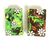 Floral Swap Playing Cards Vtg 60s Green Red Double Deck Crafts Flower Power