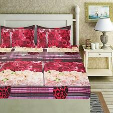 Indian Beautiful Roses Microfiber Double Bed Sheet with 2 Pillow Covers