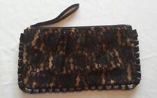 Tan/Black Floral Lace Overlay Wrist Clutch Bag Purse