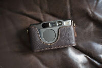 Handmade Genuine Real Leather Half Camera Case Bag Cover for Contax T2 Brown