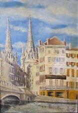 peinture huile sur toile tableau cathedrale Bayonne signé Oge pays basque