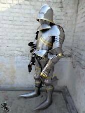 Gothic Steel  Medieval Templar Full Suit Of Armor Dark Knight Costume Larp