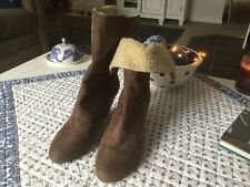 FABULOUS LAURA ASHLEY BROWN SUEDE BOOTS 9.5 WEAR UP OR TURNED DOWN