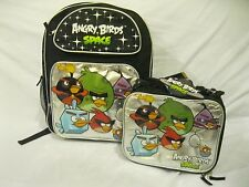 """ANGRY BIRDS SILVER 16"""" BACKPACK AND MATCHING ANGRY BIRDS LUNCHBOX LUNCH BAG-NEW!"""