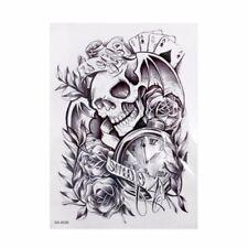 Skull Totenkopf Einmal Tattoos Schädel Temporary Tattoo Uhr Body Sticker 19x12cm