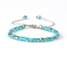 Glasperlen Makrame Armband türkis Aqua Kristall blau verstellbar eckig Perlen