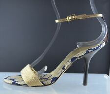 VERA WANG AUTHENTIC designer gold blue ankle high heel shoes Italy Size 7