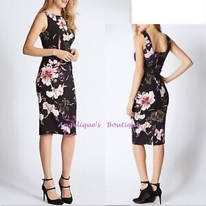 PER UNA BLACK PINK PURPLE FLORAL BLOOM PRINT BODYCON FITTED DRESS SIZE 6-14 NEW