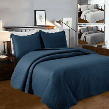 3 Piece Quilted Bedspread Bed Throw Comforter Set Large Size Sofa Throw UK Sizes
