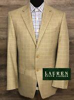 Ralph Lauren LRL Men's Silk Wool Beige Brown Plaid Blazer Sport Coat Jacket 40R