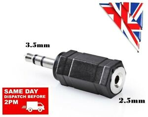 2.5mm FEMALE to 3.5mm MALE AUX JACK PLUG AUDIO STEREO CONNECTOR ADAPTER ADAPTOR
