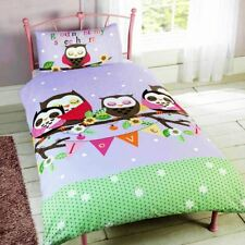 GOODNIGHT SWEETHEART OWLS TODDLER DUVET COVER SET KIDS BEDDING LILAC NEW