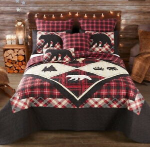 DIAMOND BEAR PAW 3pc King QUILT SET : RED BLACK PLAID LAKE CABIN WILDLIFE LODGE