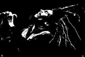 Bob Marley Portrait Singing Black White Photo Poster 36x24 inch